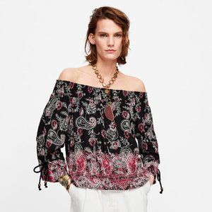 ZARA Printed Embroidered Top